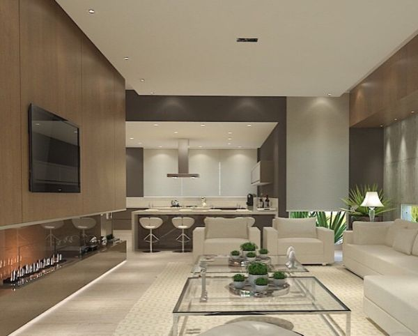 Estantes com painel de madeira living rooms room and for Sala de estar fendi