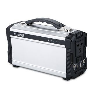 """""""Features & Benefits"""" Suaoki 220Wh/20,000mAh Portable Generator Power Source Power Supply with 100V/110V/60Hz, Max 200W AC Power Inverters, 12V/5A DC & USB Ports, Charged by DC Input/Solar Panels"""