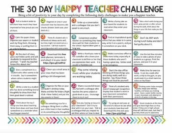 THE 30 DAY HAPPY TEACHER CHALLENGE (Free Download) by Presto Plans | Teachers Pay Teachers