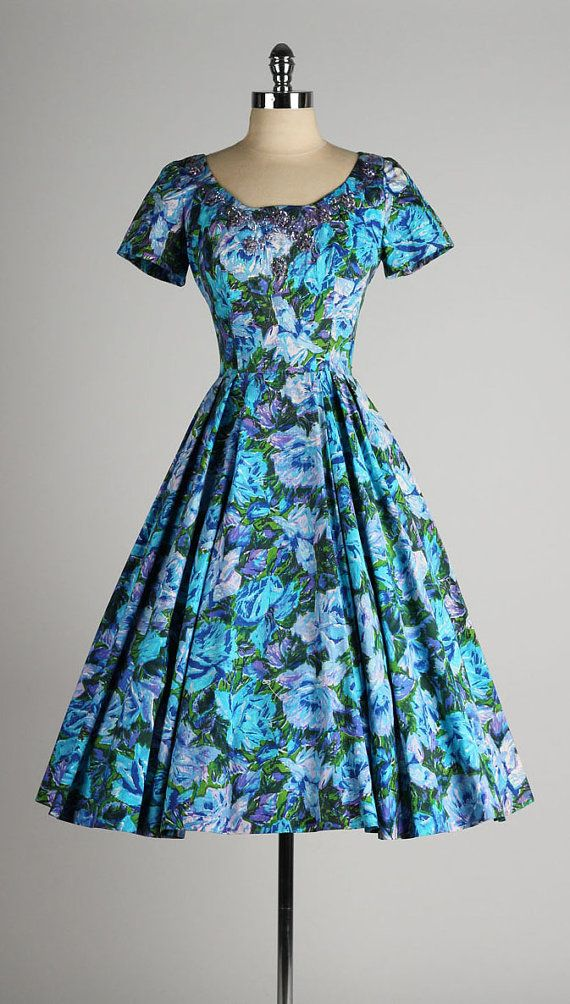 Vintage 1950s dress . blue floral cotton . beaded sequin details . 4492                                                                                                                                                                                 More