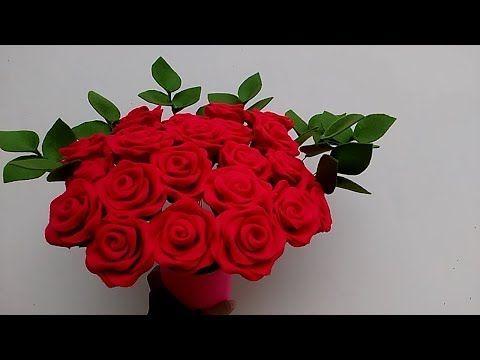 Easy DIY Felt Rose tutorial - tutorial membuat mawar dari flanel - YouTube