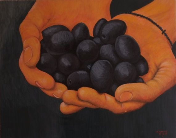 hands holding olives by AmErgon on Etsy, $2000.00
