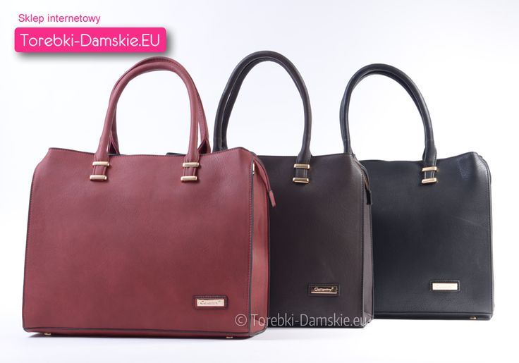 Elegancka teczka damska dostępna teraz w naszym sklepie internetowym Torebki-Damskie.eu w trzech zawsze modnych kolorach: czarnym, ciemnobrązowym i ciemnoczerwonym / bordowym. Model mieszczący format A4, metalowe elementy mają kolor złoty