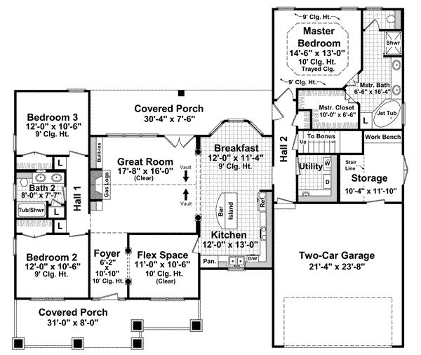 Bungalow Style House Plans - 1800 Square Foot Home , 1 Story, 3 Bedroom and 2 Bath, 2 Garage Stalls by Monster House Plans - Plan 2-171