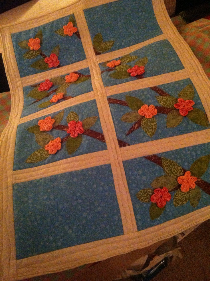 Cherry blossoms quilted wall hanging. Spring!
