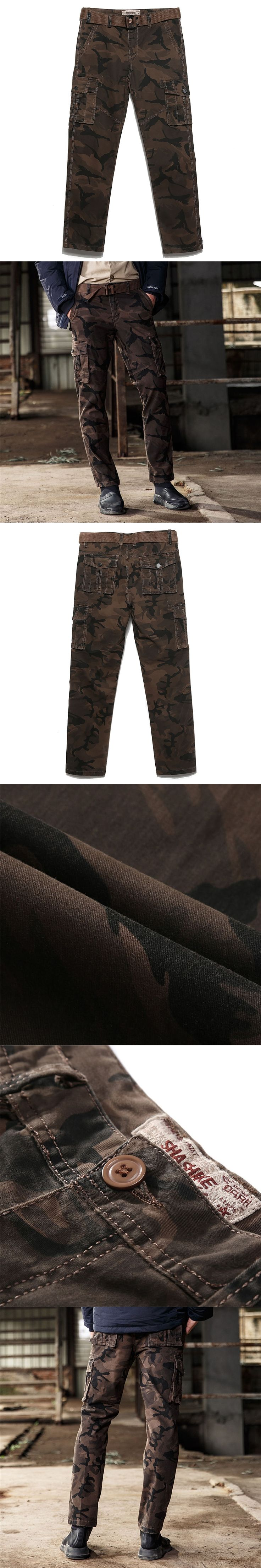 Mens Coffee Camouflage Tactical Cargo Pants Cotton Slim Military Trousers Casual Pants Hip Hop Male Trousers with Sashes Big 4XL