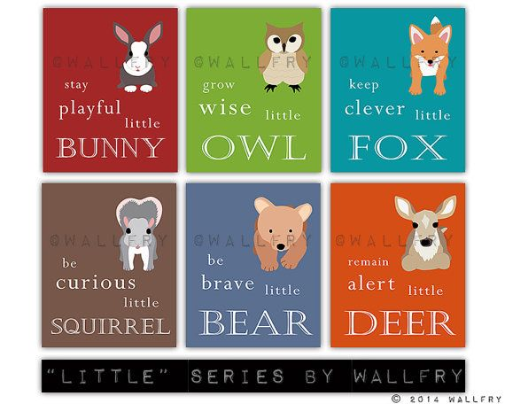Woodland Nursery decor. Be Brave little bear, grow wise little owl, baby nursery art. Set of 4- 11x14 prints by WallFry $88sgd