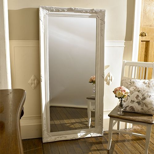 extra large white mirrorLarge Antique White Mirror   Beautiful statement tall wall mirror in white   Ornate mouldings on frame   With bevelled edge   Ideal for a wall or could be displayed by being lent against a wall   Measurement including the frame: 158cms high x 78cms wide x 6cms deep   Mirror measurements: 138cms high x 57cms wide   Fixings attached to mirror for wall hanging- vertical/horizontal hanging