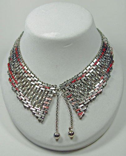 Art Deco Jakob Bengel Machine Age Chrome Red Enameled Brickwork Collar Necklace | eBay