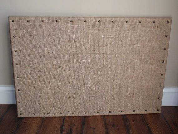 PinBoard Corkboard Cork Pin Board Bulletin Message 23x35 Shabby Rustic Burlap Fabric Wrapped, Your Choice of Nailheads  6 Jewel Pushpins on Etsy, $60.00