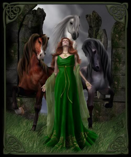 "Epona - Celtic goddess of fertility, prosperity, horses, and dogs. Looks a lot like Merida from ""Brave""...."