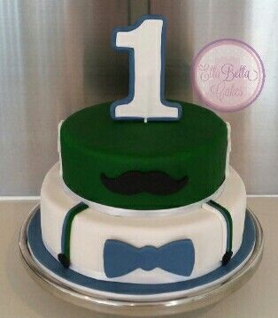 Moustache 1st birthday cake