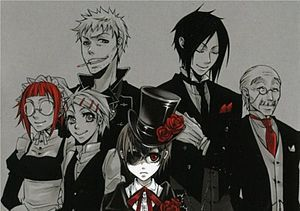 In the background: (left to right) May-Rin, Finny, Bardroy, Sebastian, and Tanaka. Centre: Master Ciel