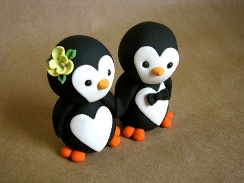 READY to SHIP Penguin wedding cake topper | WooleverCakeToppers - Wedding on ArtFire
