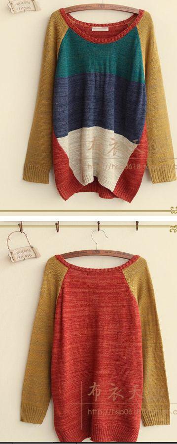 P10/Langer Pullover mit Farbkombination/Freesize/Ab 2 Stück18EUR