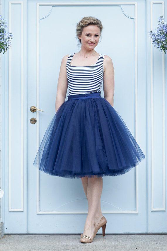 Tulle skirt navy blue tulle skirt bridesmaid by Mokkafiveoclock
