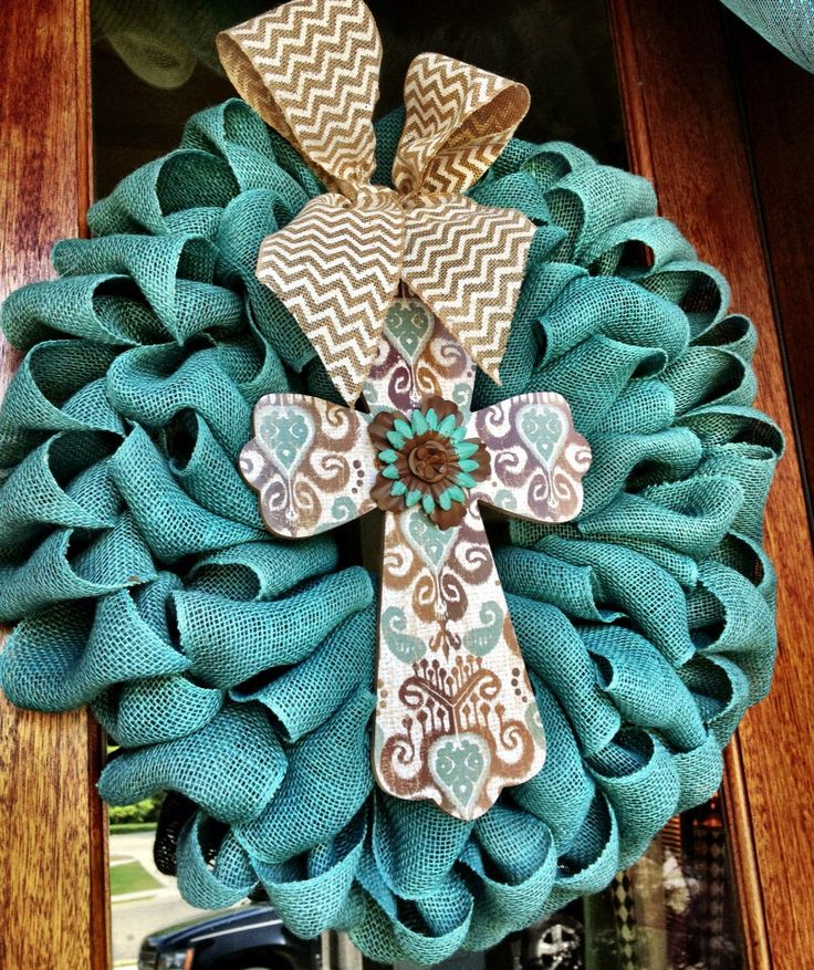 Colorful Teal Burlap Cross Wreath with beautiful cross ~ Mothers Day ~ Housewarming ~ Spring ~ Summer  by Frontdoorshowcase on Etsy https://www.etsy.com/listing/187679204/colorful-teal-burlap-cross-wreath-with