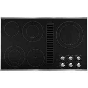 KitchenAid 36 in. Downdraft Vent Ceramic Glass Electric Cooktop in Stainless Steel with 5 Elements including Double-Ring Elements-KECD867XSS - The Home Depot