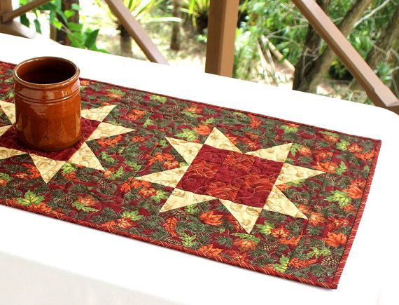 Fall Table Runner Quilted Table Runner Maple by RedNeedleQuilts