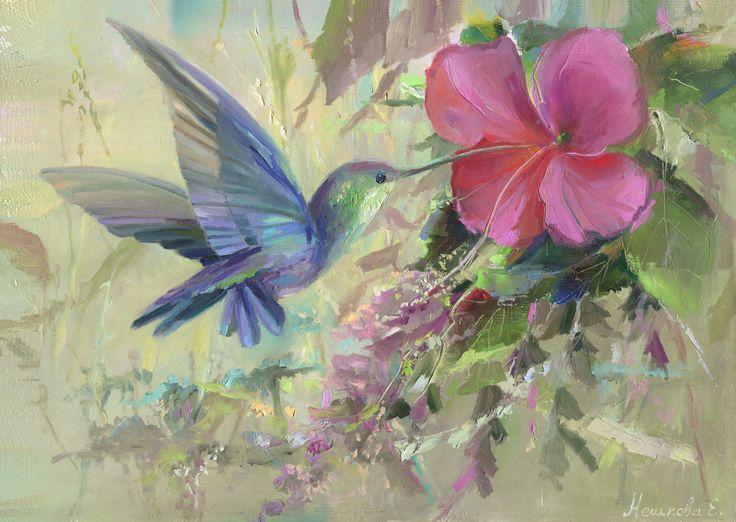 "birds, painting, neshkovaart, Екатерина Нешкова, Ekaterina Neshkova Art, картина, масло, ""Ювелирная птичка"", 45х60см, птичка, колибри,"