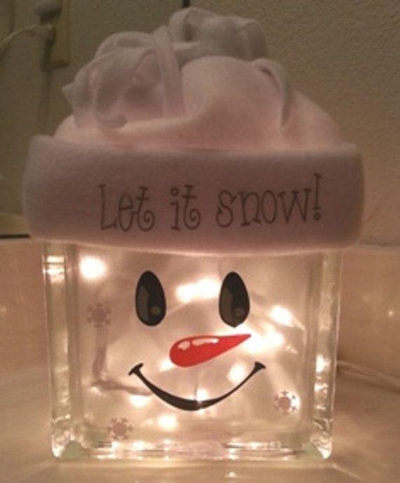 Snowman decoration glass block night light.  ha... something to do with those extra blocks I got last year.