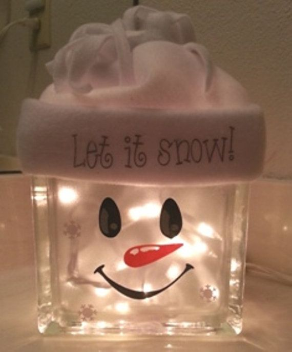 Snowman decoration glass block night light