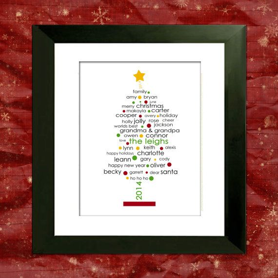 Personalized Christmas Tree, Family Christmas Gift, Custom Art Print, Gift for Mom, Gift for Grandma, Cyber Monday, Black Friday Sale