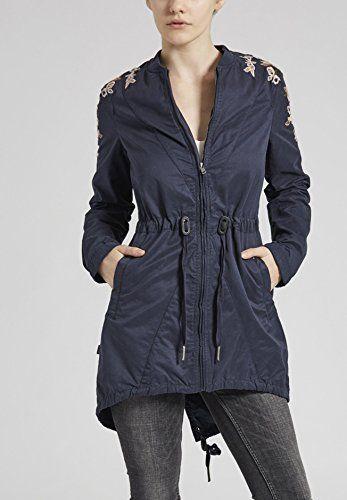 khujo Khujo Irelia Damen Jacke mit floralen Stickereien - Dunkelblau XL (XL) Jacken: Amazon.de: Bekleidung