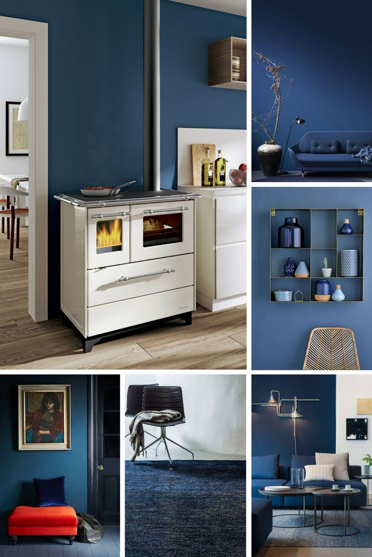Il 2017 si tinge di blu, per ricreare ambienti eleganti in grado dare tranquillità ai suoi abitanti. Dalle pareti ai complementi d'arredo, le nuance sono scure e profonde, con un riferimento immediato al mare. In foto la cucina a legna Alba Palazzetti, con rivestimento il lamiera smaltata e rifiniture in inox. #design #interiors #blue #tendenze #trend #arredamento