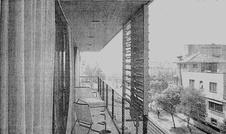 Vista de un balcón con una persiana metal móvil, Edificio de apartamentos, calle Emerson 242, Polanco, Miguel Hidalgo, Ciudad de México 1956  Arq. Manuel Rosen Morrison -   View of a balcony with a moveable metal shutter, Apartment building, calle Emerson 242, Polanco, Miguel Hidalgo, Mexico City 1956