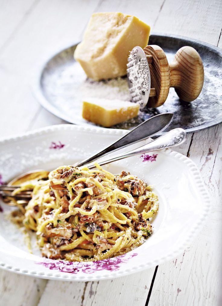 Pasta med krämig svampsås