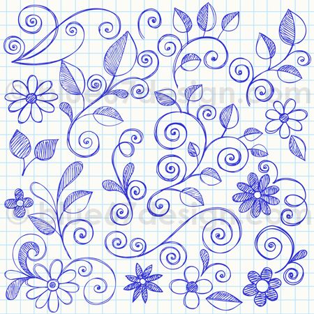 Hand-Drawn Sketchy Notebook Doodle Leaves and Flowers Vector Illustration by blue67 | Flickr - Photo Sharing!
