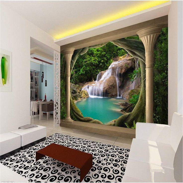 Обои 3D Балкон Естественный Пейзаж Водопад Озеро Фон Современная Европа Росписи для Гостиной Большая Картина Домашнего Декоракупить в магазине Colors Make Co., LtdнаAliExpress