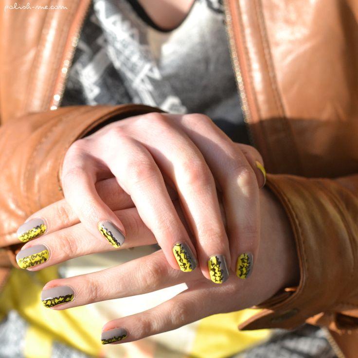 Nail Art Jaune & Taupe | Les Nail Art & Tutoriels | Pinterest