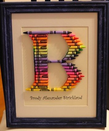 Crayon Letters Framed  good idea for teacher holiday gifts!