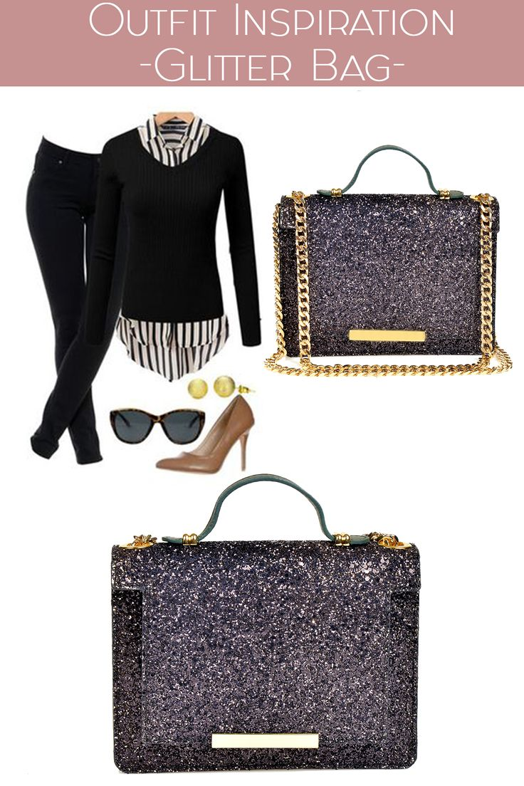 The Mini Lauren black glitter bag is perfect for both office or festive attires @w