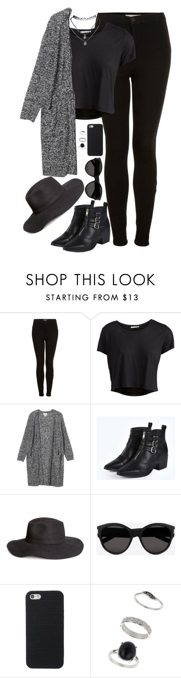 """Black outfit."" by wuryder ❤ liked on Polyvore featuring Topshop, Pieces, Monki, Boohoo, H&M, Yves Saint Laurent, Miss Selfridge, Wet Seal, outfit and allblack"