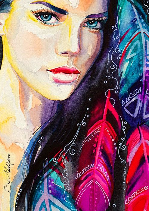 Original Watercolour Painting Colorful Feathers by SlaviART