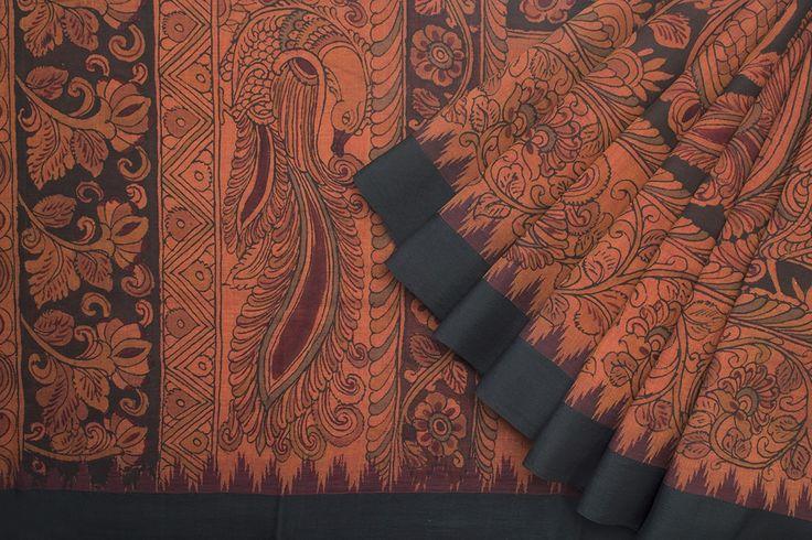 Bindu Giri Handpainted Kalamkari Cotton Sari 1018977 - Saris / Kalamkari - Parisera