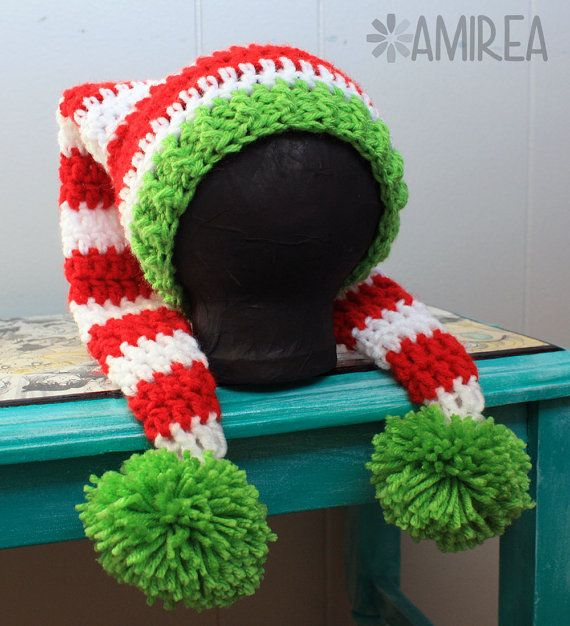 Instant Download Double Tail Holiday Hat Beanie Crochet Pattern