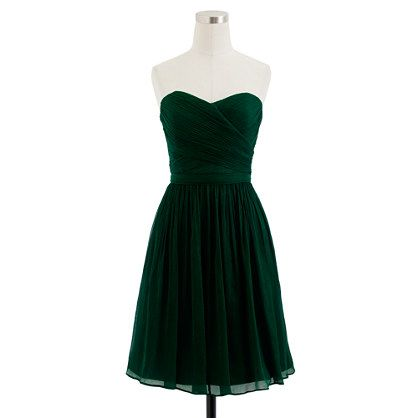 a hunter green dress from j crew will probs be on my wishlist forever.  absolutely nowhere to wear this but it's pretty adorbs! Petite Arabelle dress in silk chiffon