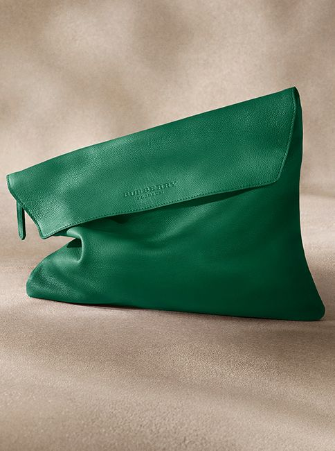 A soft leather document wallet in emerald green from the Burberry S/S14 men's accessories collection