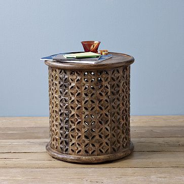 Carved Wood Side Table #westelm