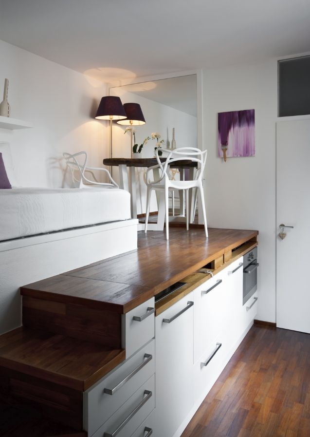 Micro-Apartment - Living Space with Hidden Kitchen - Humble Homes