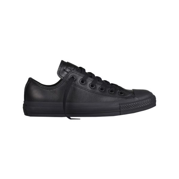 Converse Chuck Taylor All Star Low Leather - Black Monochrome Sneakers ($65) ❤ liked on Polyvore featuring shoes, sneakers, black, rubber sole shoes, black trainers, star sneakers, black rubber sole shoes and star shoes