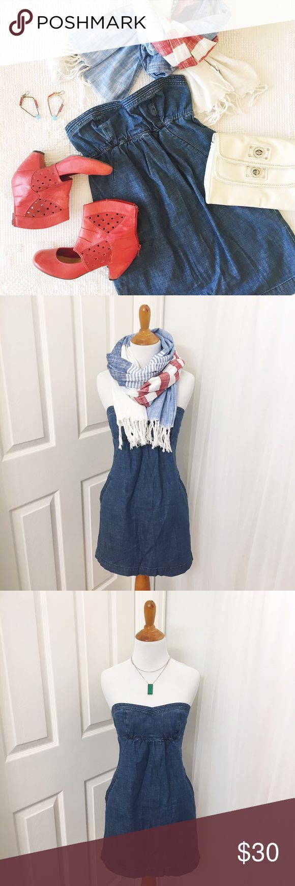 Sweetheart Strapless Denim Dress 🍑 Size 0  🍑 Vintage Denim Blue  🍑 Stretchy Cotton Denim 🍑 EUC 🍑 AEO  ✨ Price is FIRM ✨ All items from a smoke free home  ✨ Please ask questions prior to purchase American Eagle Outfitters Dresses