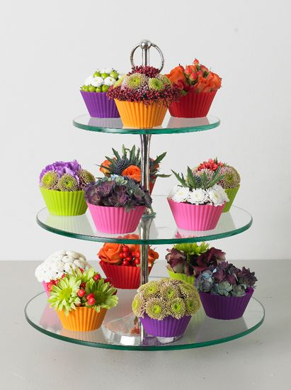 cupcake flowers..what a cute way to display succulents!