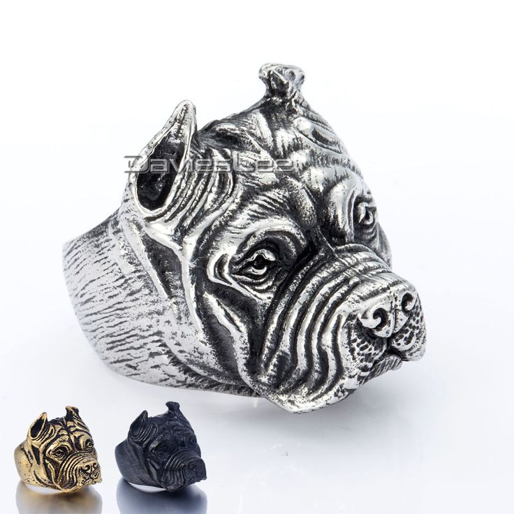 Davieslee Gift Mens Ring Jongens Punk Pitbull Bulldog Dier Silver Tone 316L Rvs Ring Groothandel Sieraden DLHR106