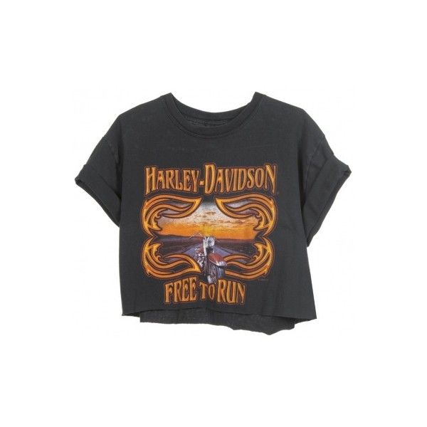 Rokit Recycled Black 'Harley Davidson' Cropped T-Shirt - Vintage... ❤ liked on Polyvore featuring tops, t-shirts, shirts, crop tops, crop tee, shirt crop top, crop shirts, vintage t shirts and harley davidson tee