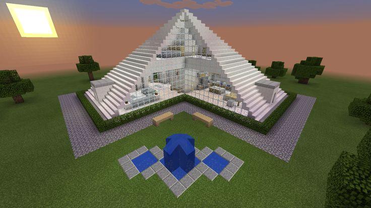 Minecraft Glass Pyramid House Creation Fountain Modern Home